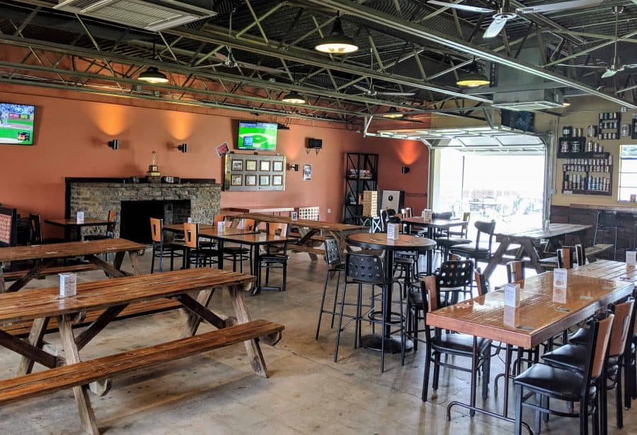 taproom seating at 13 Below Brewery