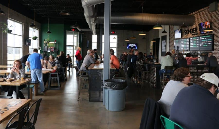 The taproom at Sonder Brewing in Mason, Ohio