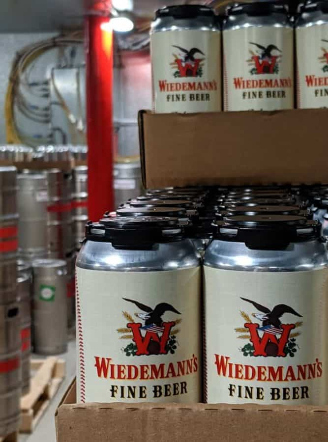 Cans of beer at Wiedemann's Brewery