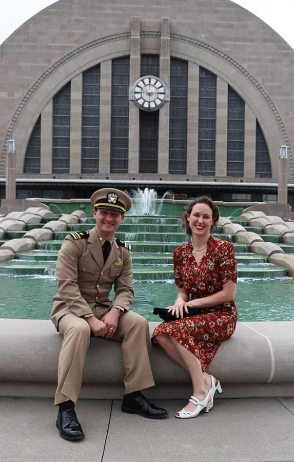 1940s Day couple at the Union Terminal fountain