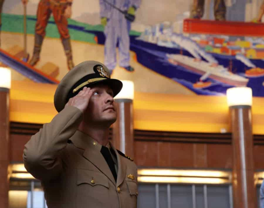 Soldier saluting in the Union Terminal Rotunda