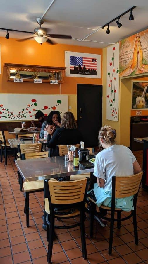 The dining room at Bridges Nepali on Court Street, Cincinnati