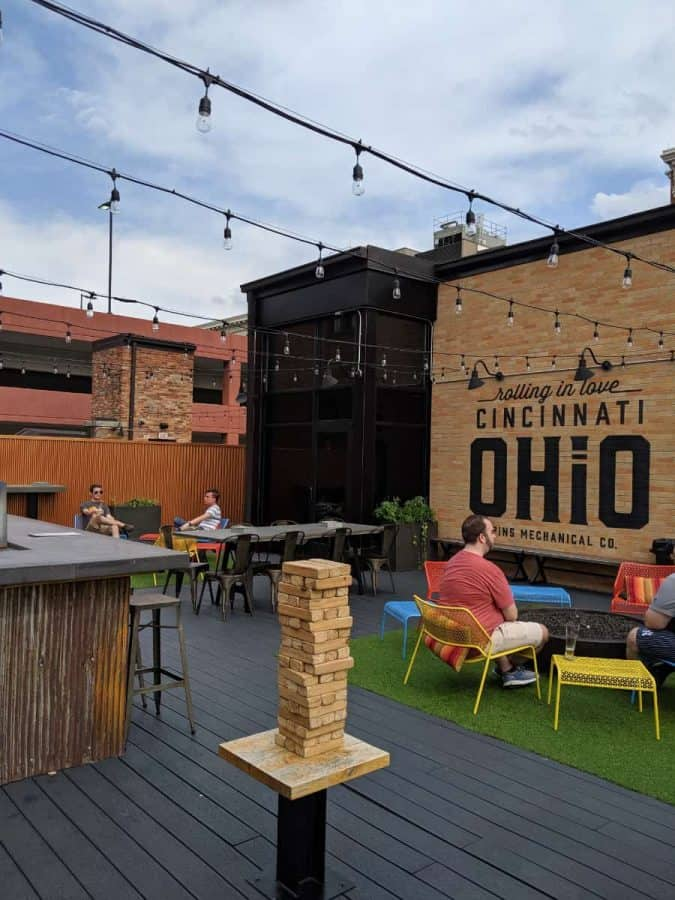 The rooftop bar at Pins Mechanical Company in Over the Rhine