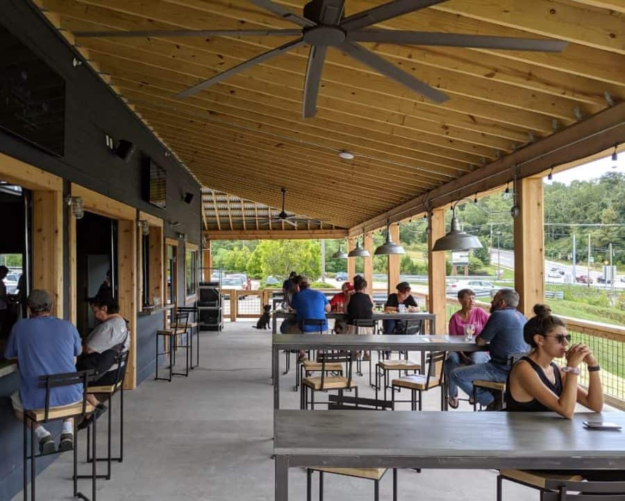 Enjoy your beer on the front porch at Big Ash Brewery in Anderson