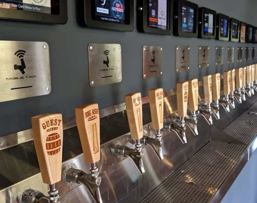 Taps along the wall at Big Ash Brewery in Anderson