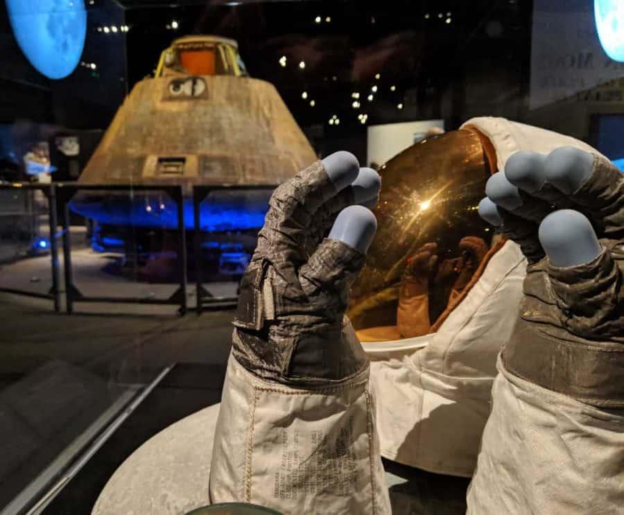 gloves and helmet from Destination Moon at Cincinnati Museum Center