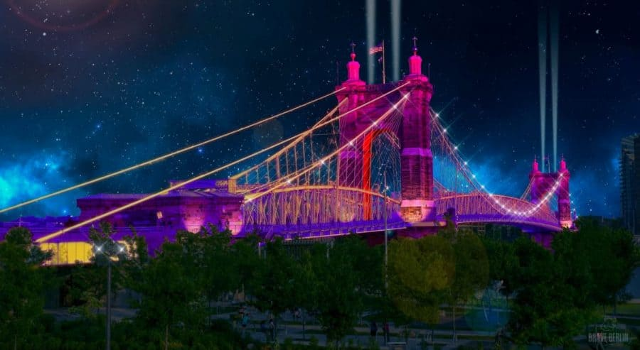 Cincinnati's Roebling Bridge lit up for BLINK Cincinnati