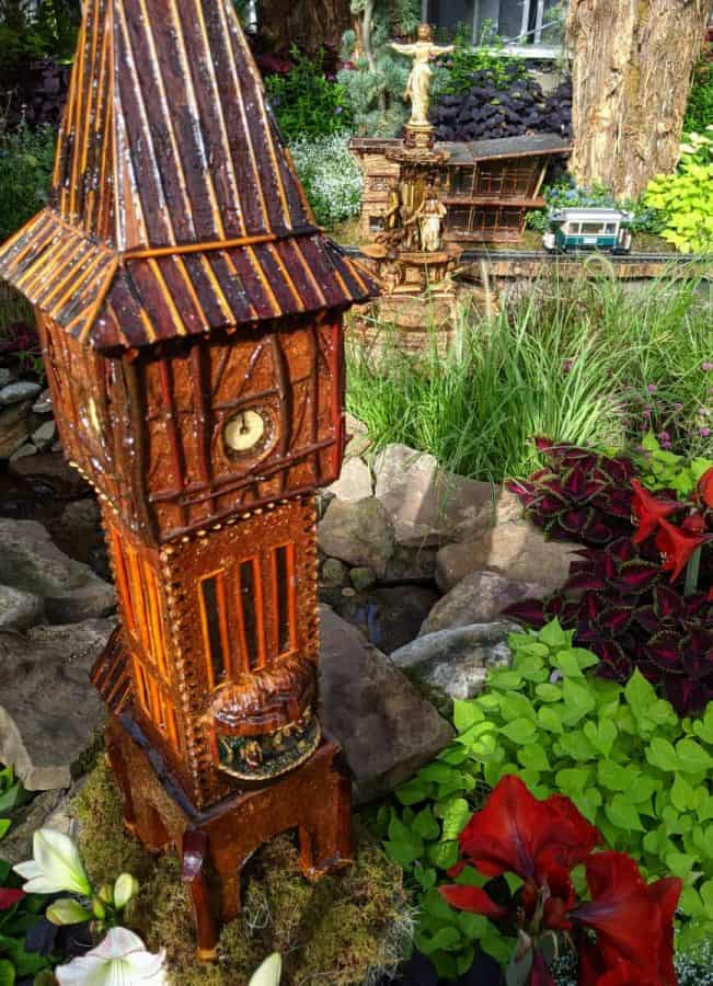 Goebel Park's bell tower and Tyler Davidson Fountain at the Krohn Conservatory