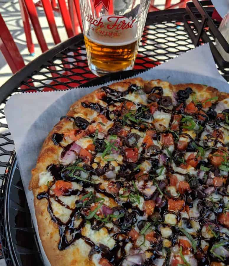 Caprese Pizza on March First Brewings patio