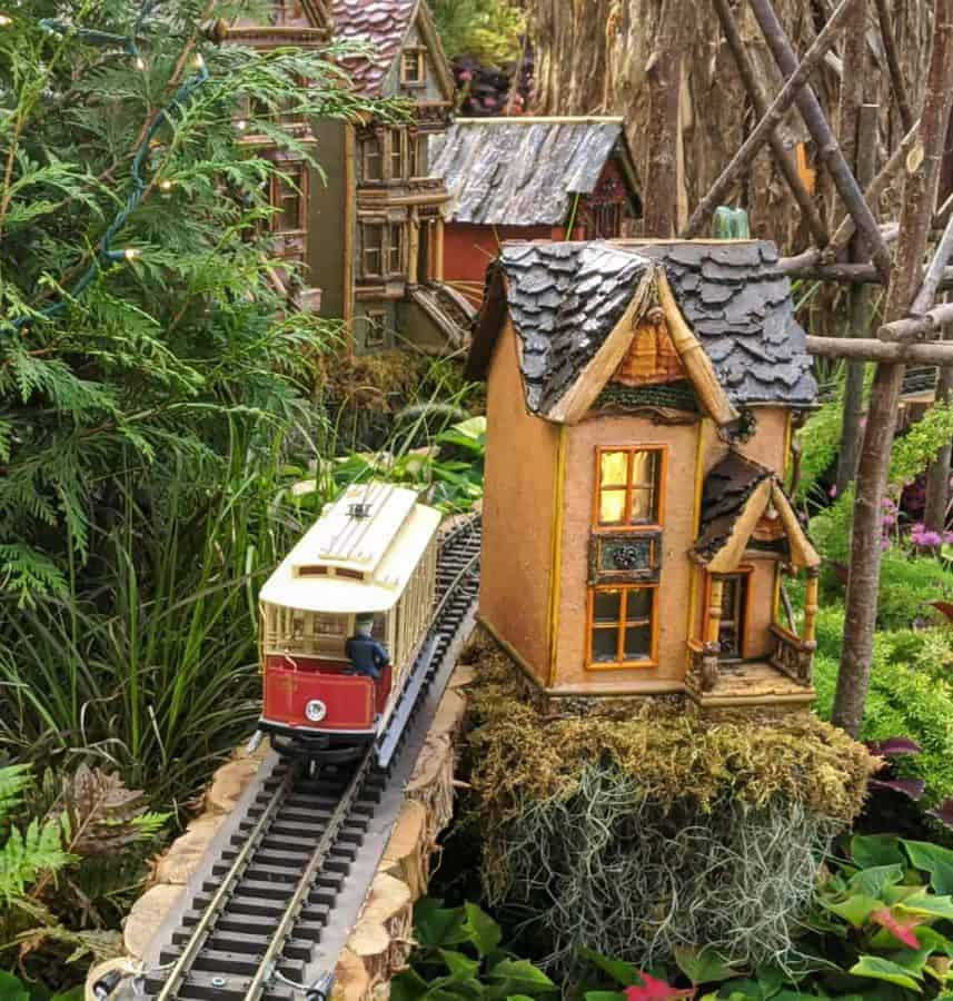 Trolleys in the display at Krohn Conservatory's Zinzinnati Holiday