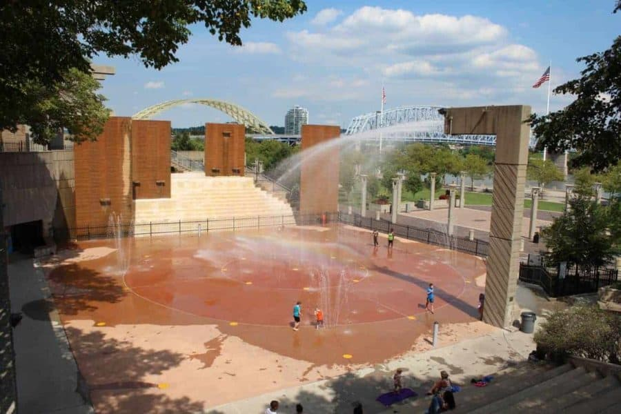 overview of Armeleder Sprayground in Cincinnati, Ohio