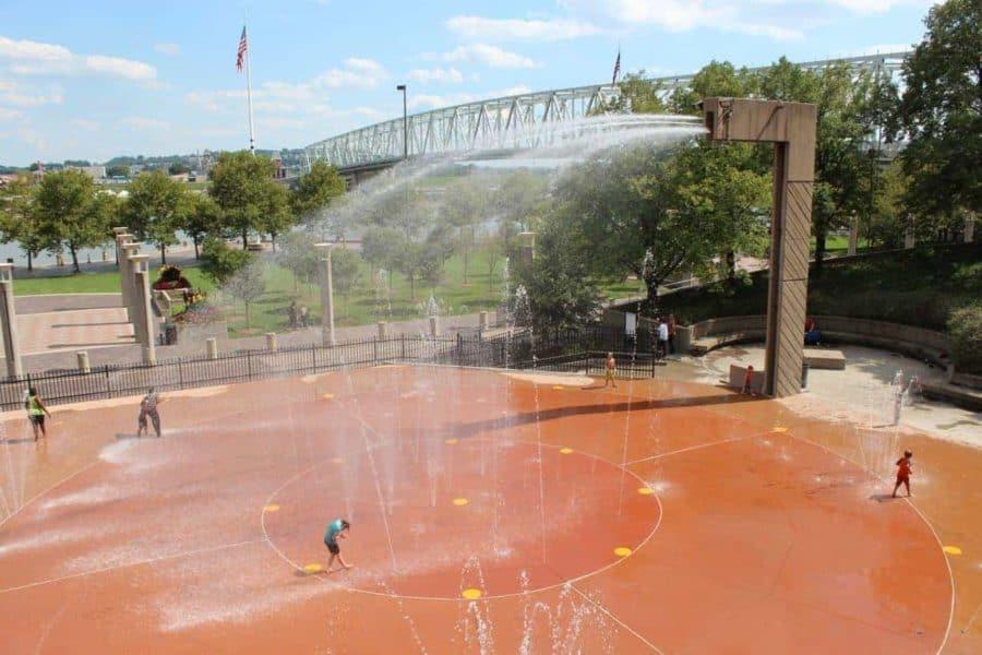 Kids playing in the spray at Armeleder Sprayground in Cincinnati