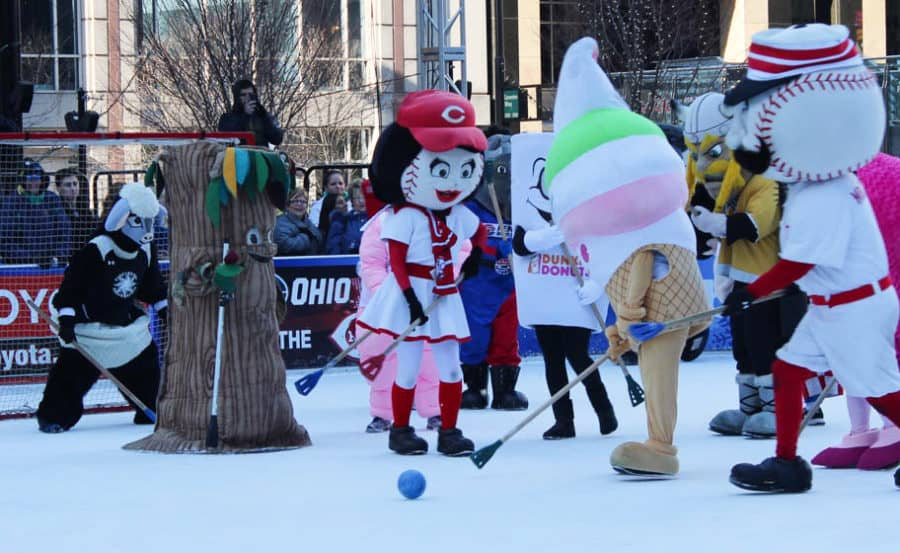 Mascot Broomball at the Fountain Square Ice Rink