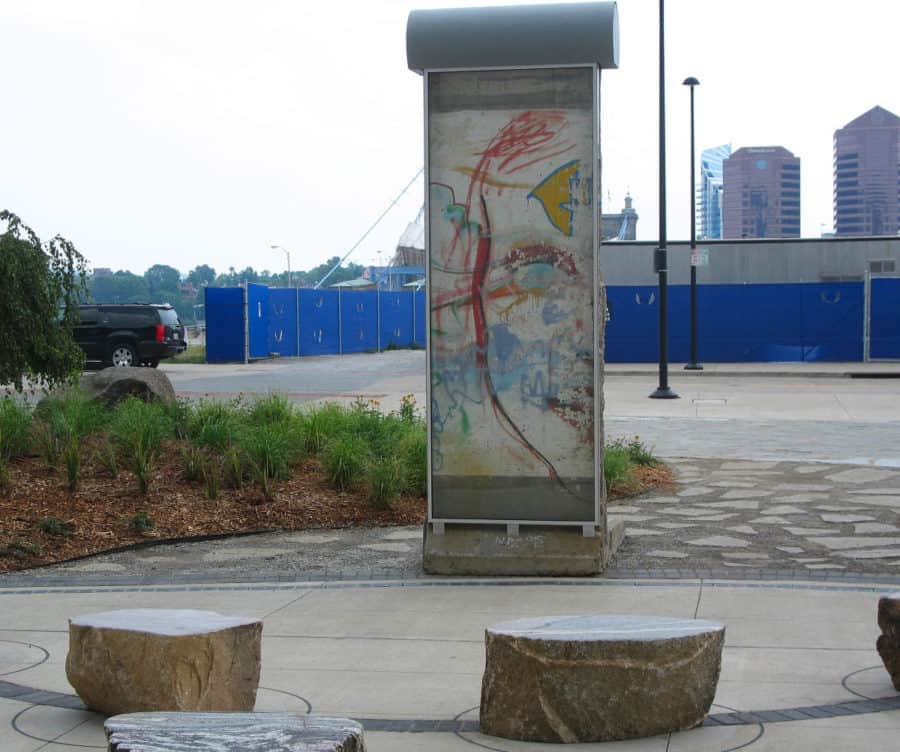 The painted side of the Berlin Wall in Cincinnati, Ohio