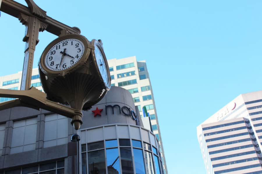 clock in downtown Cincinnati