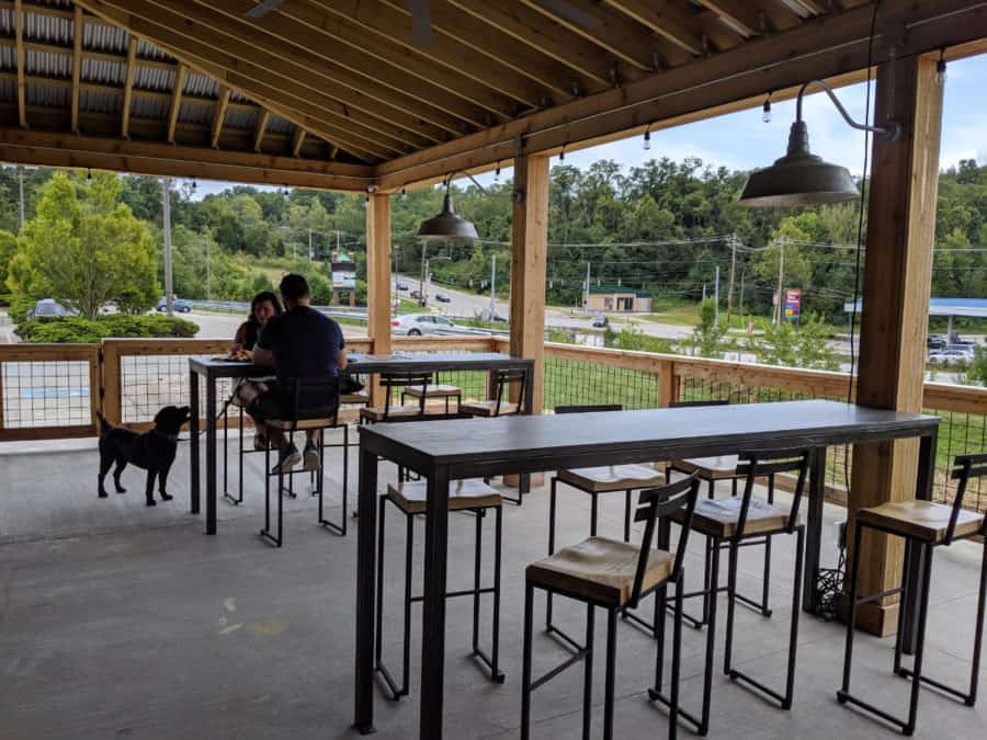 Dogs are allowed on the porch at Big Ash Brewing in Anderson