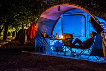 Tent camping at a camground