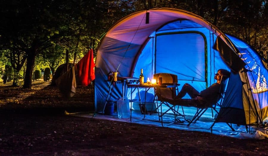 Tent camping at a campground