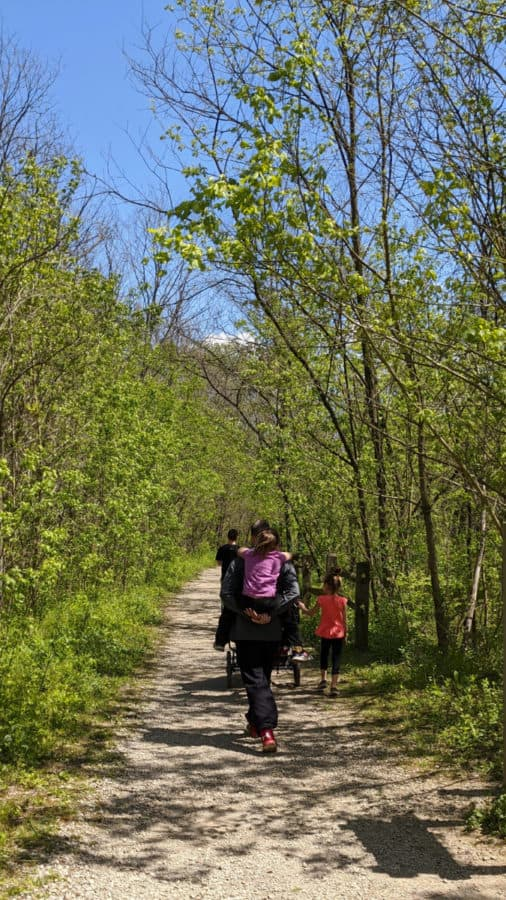 Family hiking in Winton Woods