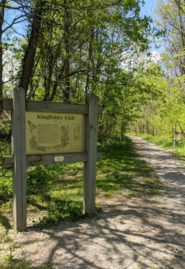 Trailhead for Kingfisher Trail in Winton Woods