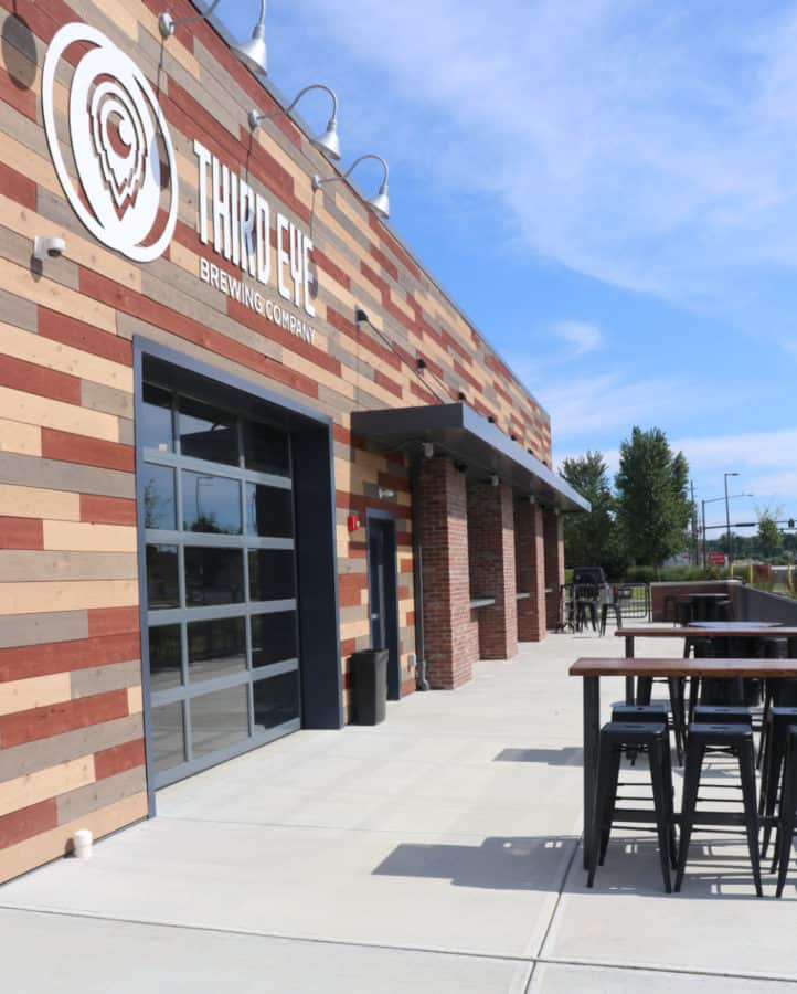 seating along the front of Third Eye Brewing