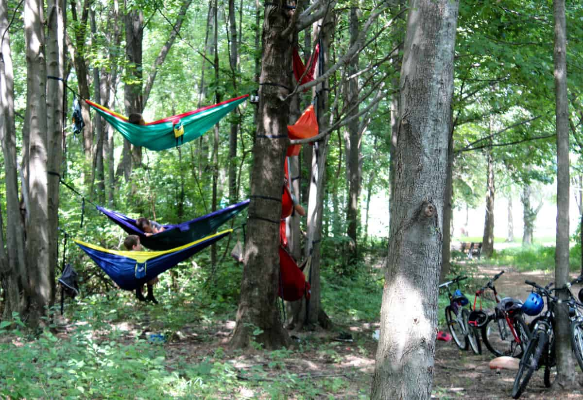 Hammocks on the trails at Summit Park in Blue Ash