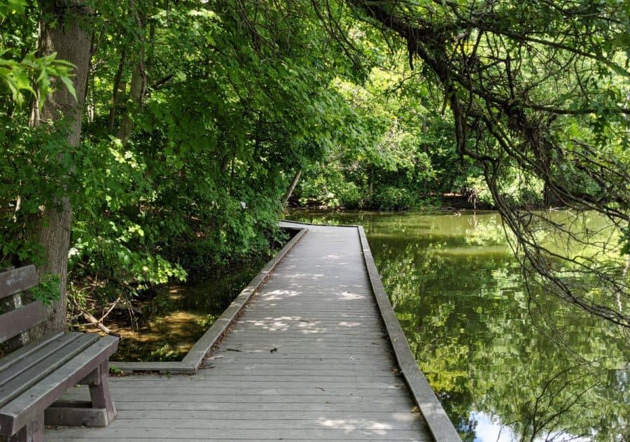 The boardwalk along a pond at Cincinnati Nature Center