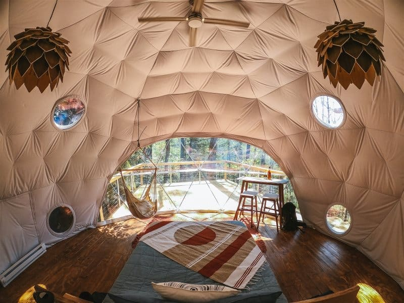 glamping in a dome tent at Red River Gorgeous Cabins