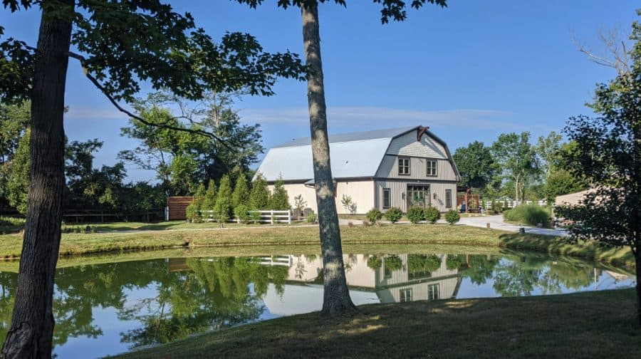 The barn and pond at Marmalade Lily in Loveland, Ohio