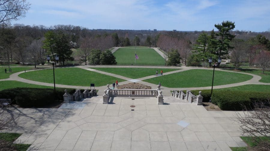 Looking over the great lawn from atop the pavilion