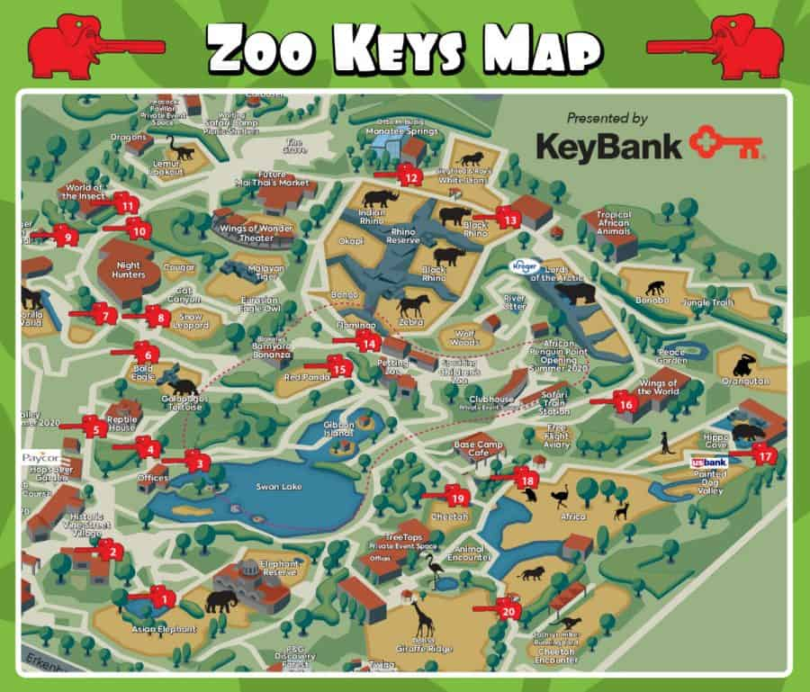 Cincinnati Zoo Keys map