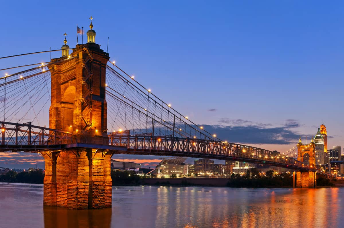 Roebling Bridge at sunset