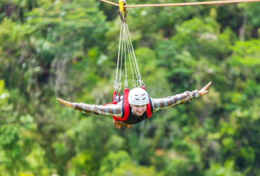 Man on zipline