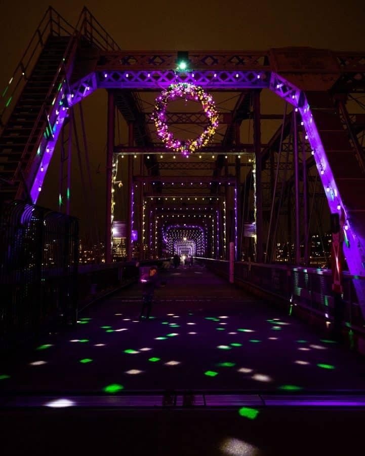 Holiday Lights over the Purple People Bridge