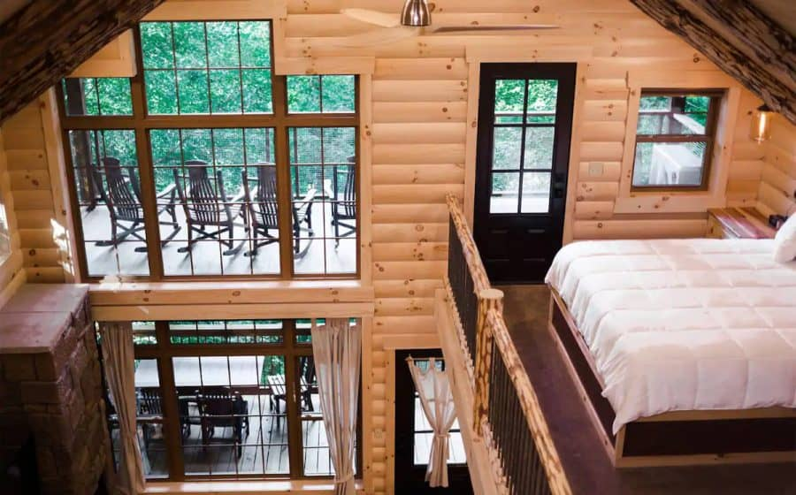 Second story view of treehouse cabin