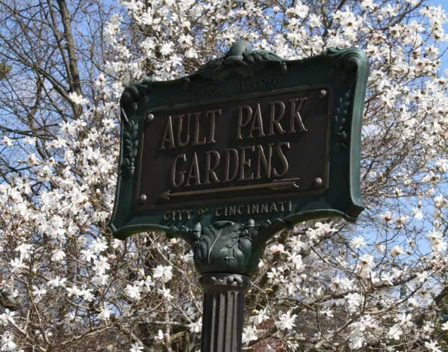 Ault Park gardens sign