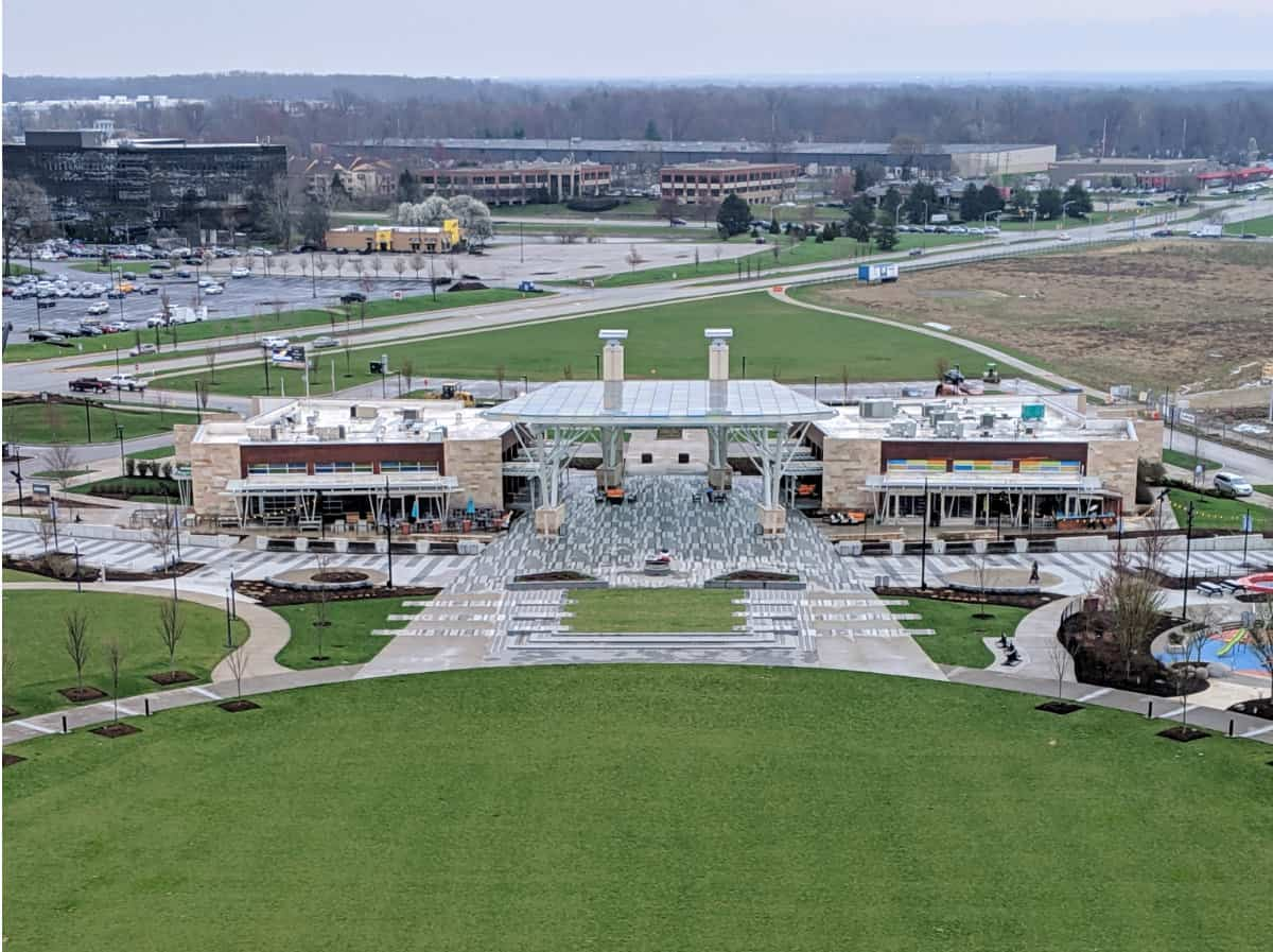The pavilion and lawn at Summit Park in Blue Ash
