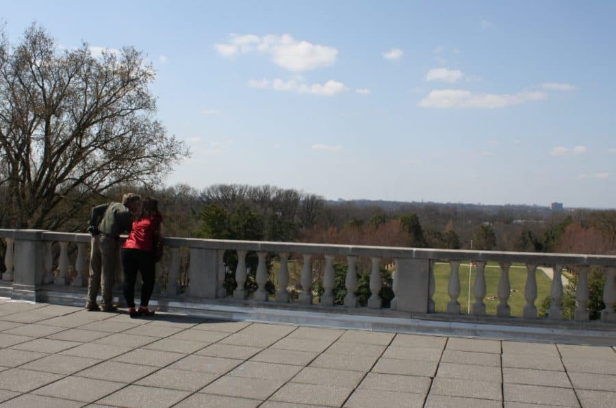 Standing at the top of the Ault Park pavilion