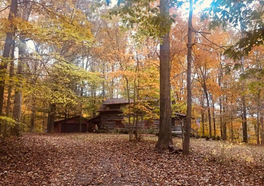 Indiana log cabin in the woods