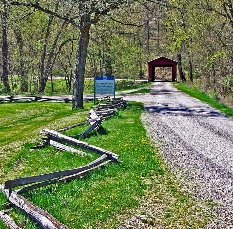 Road leading up to Buckeye Furnace Covered Bridge in Ohio