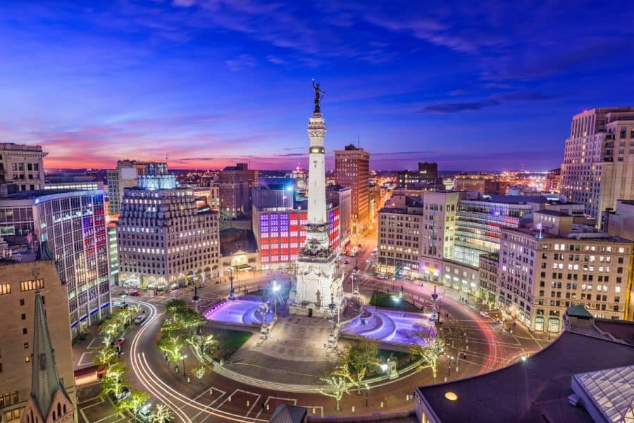 An overhead image of Monument Circle in Indianapolis, Indiana