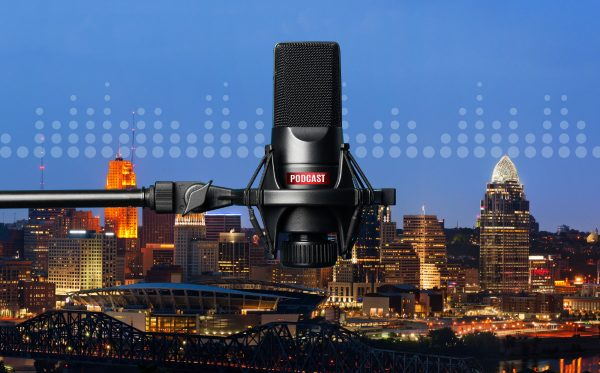 Cincinnati skyline with podcast microphone and sound waves