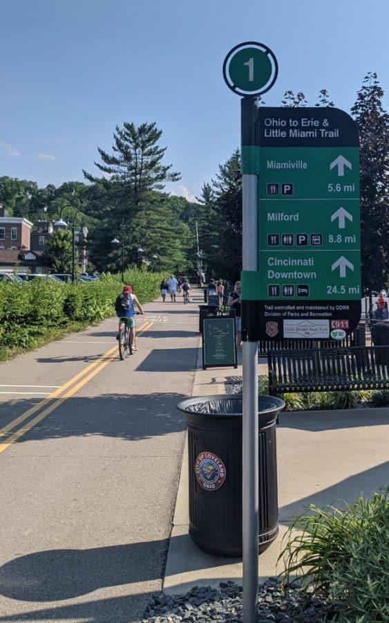 People walking and biking on the Loveland Bike Trail