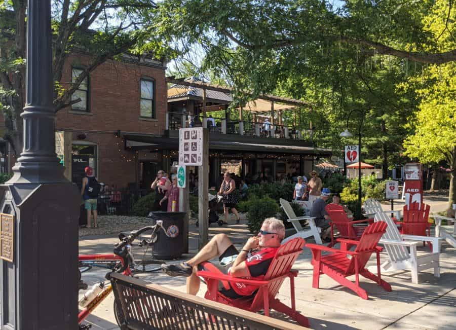 People out enjoying a sunny day in downtown Loveland, Ohio