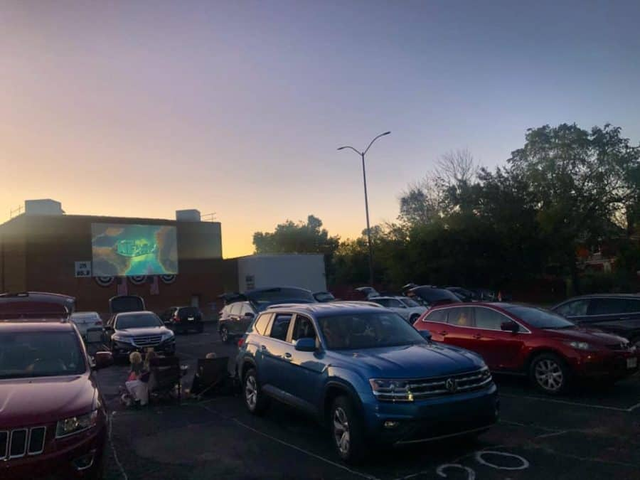 Cars parked in the lot for a movie at the Hollywood Drive In Theatre