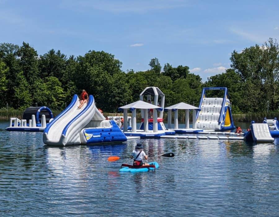 Kids having fun in the lake at Kirkwood Adventure Park