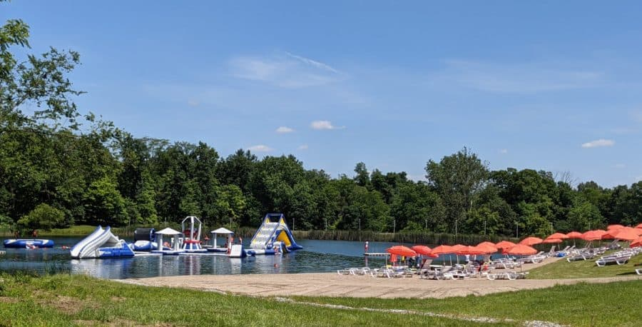 Overview of the lake and chairs at Kirkwood Adventure Park