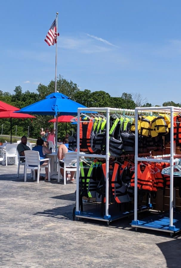 Life jackets and the patio at Kirkwood Adventure Park