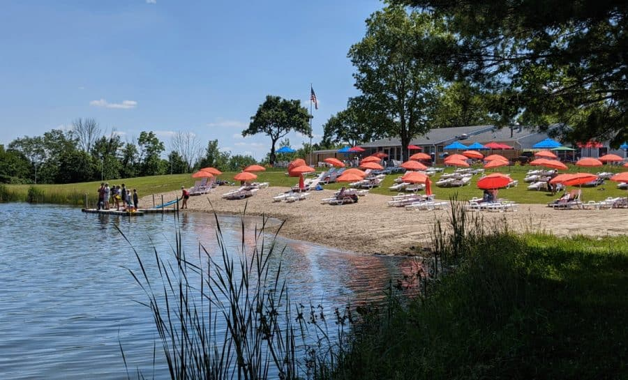 The beach at the lake found at Kirkwood Adventure Park